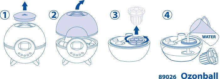 Наполнение водой увлажнителя-озонатора Ozonball